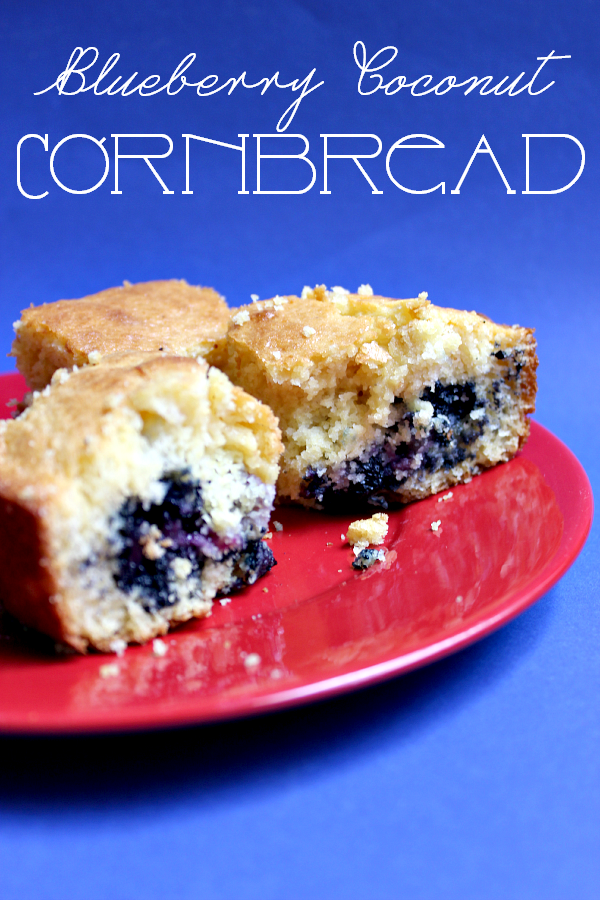 Blueberry Coconut Cornbread // Budget Girl --- Whoever said fruit doesn't go in cornbread is *really* missing out. This is moist and delicious, with just the right amount of sweet. It works as a side dish and a dessert. Definitely my new favorite thing and I don't even like cornbread. :P #food #baking #cornbread #bread #recipes #blueberry #coconut