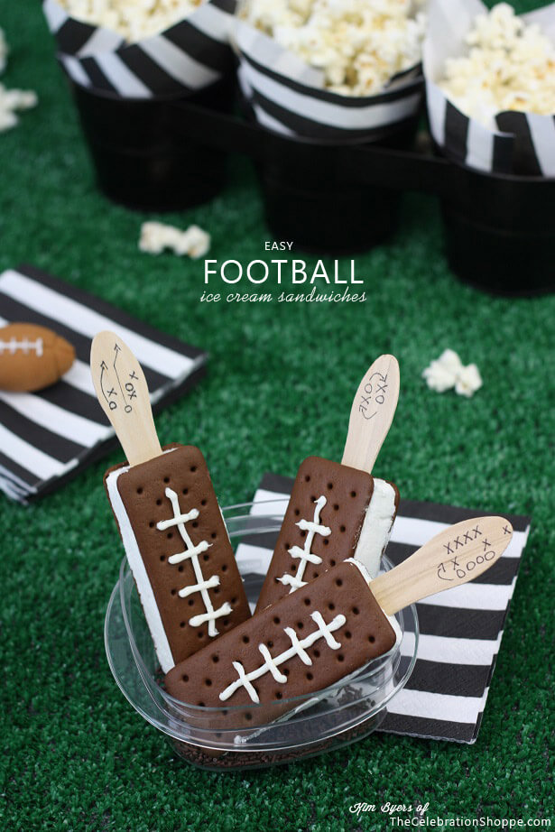 Easy Football Ice Cream Sandwiches from The Celebration Shoppe