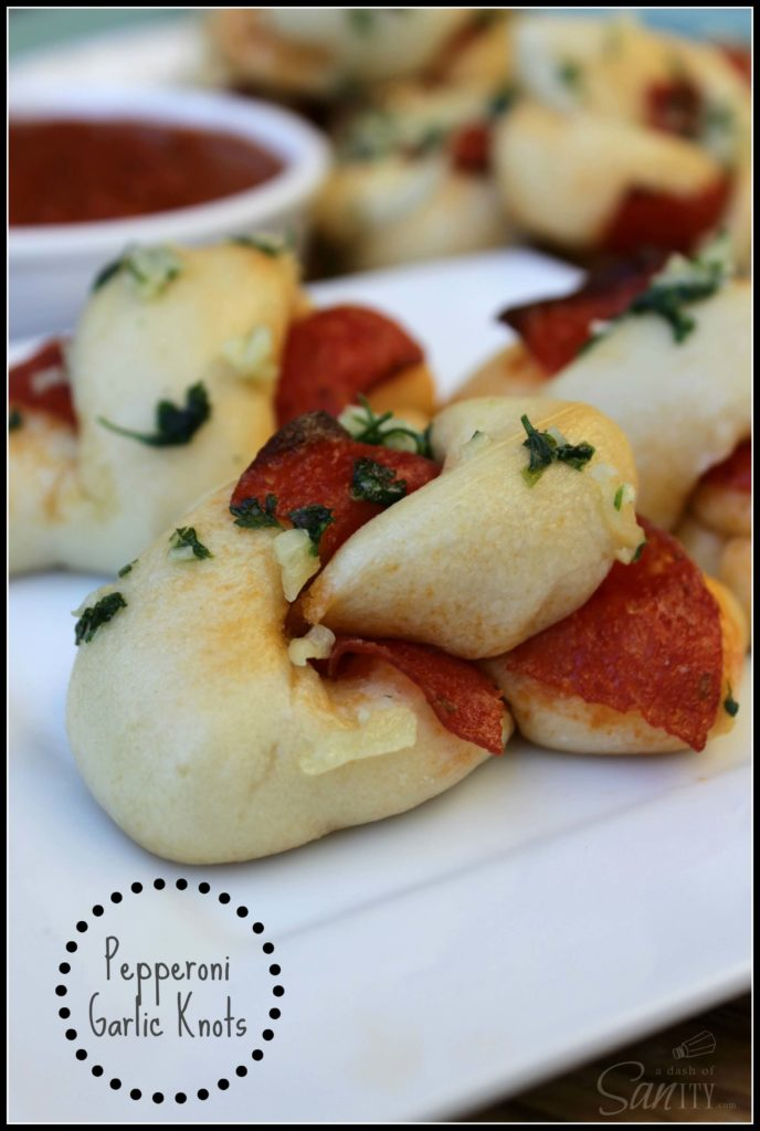 Pepperoni Garlic Knots from A Dash of Sanity