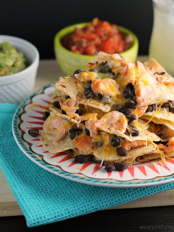 Salmon and Black Bean Nachos from The Weary Chef